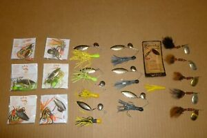 LOT OF 19 MEPPS, H & H, AND UNKNOWN SPINNERBAIT FISHING LURES FOR TROUT & BASS