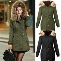 Women Thicken Fur Collar Hooded Outwear Jacket Winter Parka Coat Overcoat Tops