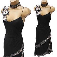 Karen Millen Silk Black Charleston Embroidered Floral Cocktail Cruise Dress 10UK