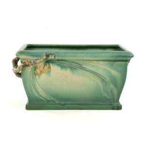 "ROSEVILLE POTTERY GREEN PINE CONE WINDOW BOX SHAPE 380-10"""