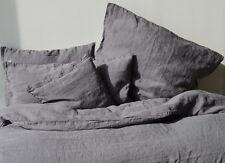 Bettwäsche- Garnitur aus 100% Leinen, Grau, 155x 220 cm, 80x 80 cm, stone washed