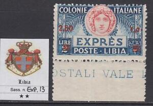 Italy Libia - Expr. n.13 cv 1200$ - WITH CERTIFICATE - MNH** Margin of Sheet