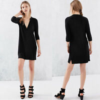Women Casual Long Sleeve V-Neck Oversize Loose Chiffon T Shirt Top Blouse Dress