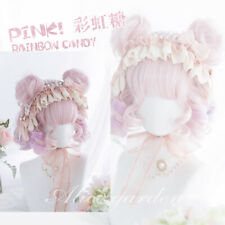 Pink Purple Gradient Wig Harajuku Daily Lolita Cosplay Girl Short Curly Hair