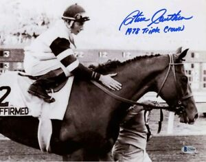 STEVE CAUTHEN SIGNED 11x14 PHOTO + 1978 TRIPLE CROWN AFFIRMED JOCKEY BECKETT BAS