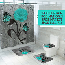 Waterproof Green Butterfly Rose Shower Curtain Bath Toilet Seat Cover Mat Set
