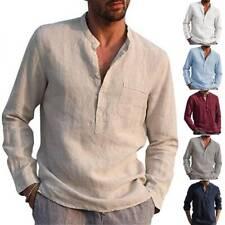 Herren Leinenoptik Hemd Stehkragen Langarm Slim Hemdshirt Freizeit Hemdbluse Top