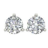 SI1 G 1.20Ct Natural Diamond Martini Set Solitaire Studs Earrings 14K Solid Gold