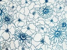 1 1/2 Yards of Cream with Blue Floral Quilting Fabric
