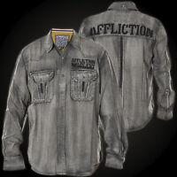 AFFLICTION Mens Embroidered Button Down Shirt CITY INVADER Biker Roar $88