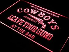 i783-r Cowboys Leave Guns Bar Beer Neon Light Sign