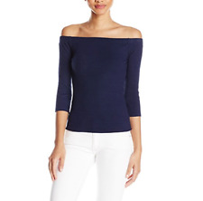 GUESS WOMEN'S NAVY BLUE 3/4 SLEEVE GIBSON OFF SHOULDER RIBBED TOP Sz XS