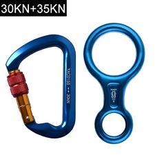 30KN Screwgate Locking Climbing Carabiners+35KN Figure 8 Descender Rappel Device