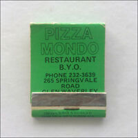 Pizza Mondo Restaurant 265 Springvale Rd Glen Waverley 2323639 Matchbook (MK54)