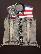 Vintage Men's Denim Vest/American Flag Patchwork/XXL