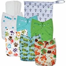 Wegreeco Washable Reusable Baby Cloth Pocket Diapers 6 Pack 6 Bamboo Inserts 1