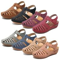 Summer Women's Casual Leather Wedge Sandals Round Close Toe Anti Slip Shoes Size