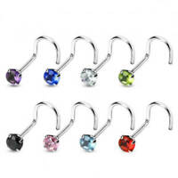 20G 18G Nose Screw Stud Nose Ring 3mm Round Prong Set CZ Gem Surgical Steel