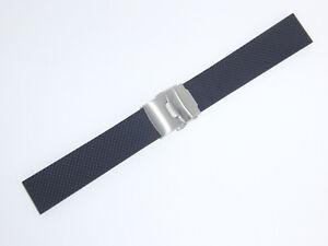 Bonetto Cinturini Rubber Watch Band Strap 22 mm Deployment Buckle, Black, 300D