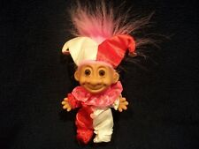 Russ Troll Doll Jester Red White & Pink Outfit with Pink Hair