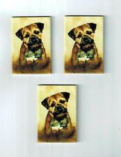 New Border Terrier Dog Magnet Set 3 Magnets By Ruth Maystead Mfr # Bor-1