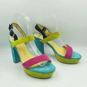 Mollini Size 39/8 Vibrant Block Colour Suede Platform Ankle Strap Chunky Heels