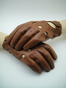 "NEW ""LE MANS"" Classic Men's Leather Classic Racer Driving Gloves 50's 60s Racing"