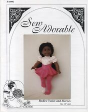 "Sew Adorable Doll Clothes Pattern fits 18"" American Girl Bodice Yokes and Sleeve"