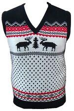 Mens Ladies TANK-TOP vest Jumper Sweater Sleeveless Christmas Reindeer Tanktop