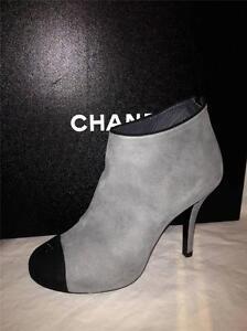 CHANEL 13A Grey Black Suede Cap Toe CC Logo Platform Ankle Booties Boots $1195