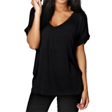 Plus Size S-5XL Womens Summer Tops V Neck Loose T Shirt Casual Baggy Blouse Tee