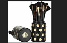 BH Cosmetics black -A-DOT 11 Pc Brush Set Cup w/ Travel Cup Holder Polka Dot