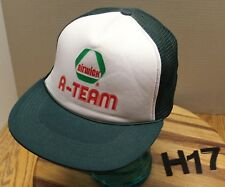 """AIRWICK """"A-TEAM"""" TRUCKERS HAT GREEN/WHITE SNAPBACK MESH BACK EXC CONDITION H17"""