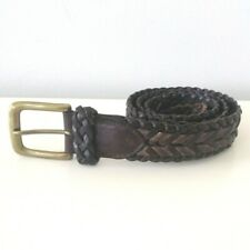 Trafalgar Adjustable Braided Woven Leather Casual Belt Brown Size 32 Made USA