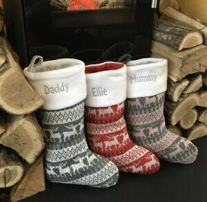 Personalised Christmas Stocking Embroidered Luxury Nordic Xmas Sack Reindeer Bag