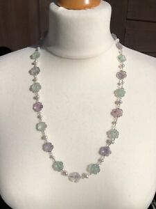 """925 Silver Carved Flourite Flower Beads with Cultured Pearls Necklace 24"""" New"""