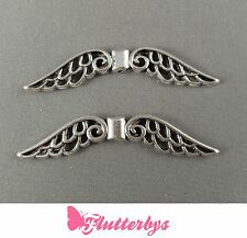 2 Silver Plated Angel Fairy Wings Spacer Bead Charm 50mm, Jewellery Making,