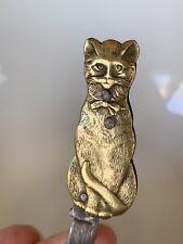 Rare Victorian 2 Sided CAT Figural Kitty Pocket Pen Fruit Knife Antique Brass