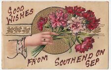 Essex; Embossed Bunch Of Flowers Litho PPC, Unposted, Applied Glitter Trim