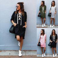 Women Hoodie Sweatshirt Mini Dress Casual Hooded Long Jumper Pullover Winter AU