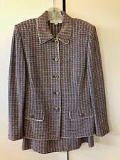 ST. JOHN COLLECTION Marie Gray Women's Knit Suit Jacket Sz 8 Skirt Sz 14 (5085)