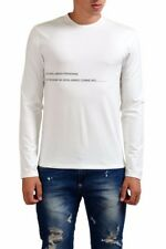 Gianfranco Ferre Men's White Crewneck Print Long Sleeve T-Shirt US L IT 52