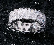 42 Ct.t.w. SPARKLING WHITE TOPAZ DOUBLE HEART DESIGN INFINITY BAND RING SIZE 10