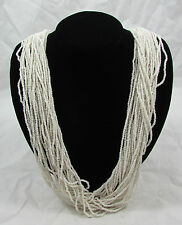 Vintage Multi-Strand White Seed Bead Torsade Necklace 29 Strands
