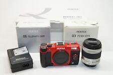 PENTAX Pentax Q Q10 12.4MP Digital Camera - Red/Black Bundle w/ three lenses