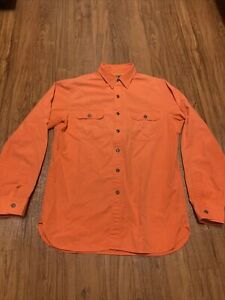 Vintage Polo Ralph Lauren Cotton Work Utility Shirt Barn Sz Medium Orange