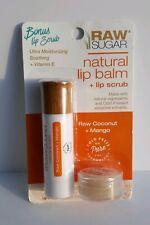 Raw Sugar Natural Lip Balm + Lip Scrub Raw Coconut + Mango Set