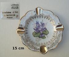 cendrier porcelaine d'art de Limoges, décor violettes, dorures, T2