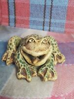 """Vtg Wild Earth Studios Ceramic Pottery Frog With Tounge Sticking Out Figurine 3"""""""
