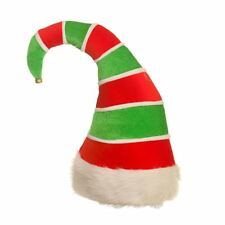 Novelty Deluxe Funny Elf Hat Green Red Stripe Christmas Party Fancy Dress Xmas
